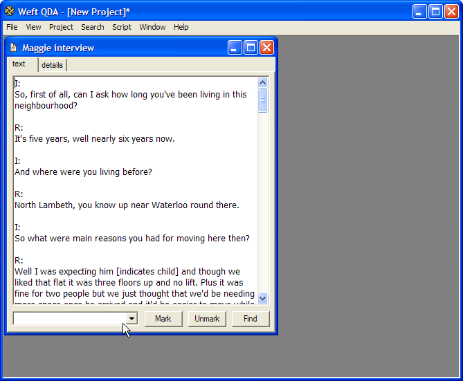 Screenshot Weft QDA